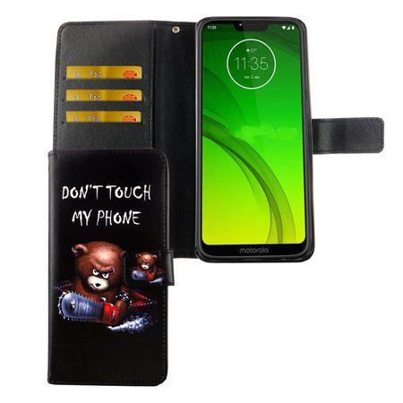Motorola Moto G7 Tasche Handy-Hülle Schutz-Cover Flip-Case mit Kartenfach Don't touch my phone