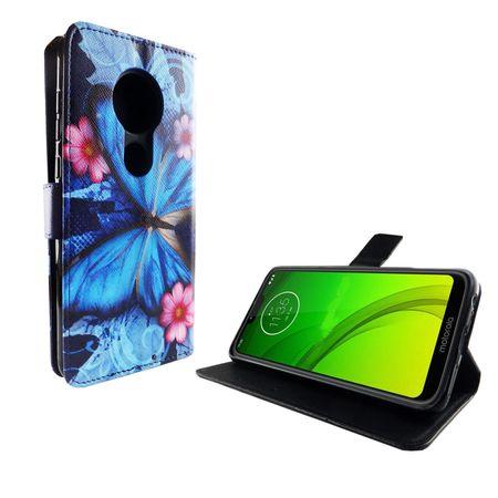 Motorola Moto G7 Tasche Handy-Hülle Schutz-Cover Flip-Case mit Kartenfach Blauer Schmetterling – Bild 2