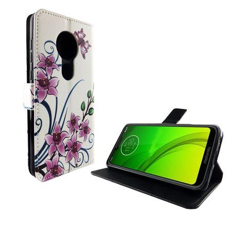 Motorola Moto G7 Tasche Handy-Hülle Schutz-Cover Flip-Case mit Kartenfach Lotusblume – Bild 2