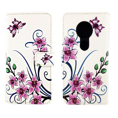 Motorola Moto G7 Tasche Handy-Hülle Schutz-Cover Flip-Case mit Kartenfach Lotusblume – Bild 3