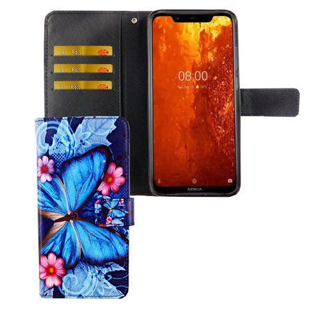 Nokia 8.1 / Nokia X7 Tasche Handy-Hülle Schutz-Cover Flip-Case mit Kartenfach Blauer Schmetterling
