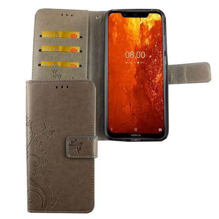 Nokia 8.1 / Nokia X7 Handy-Hülle Schutz-Tasche Cover Flip-Case Kartenfach Grau