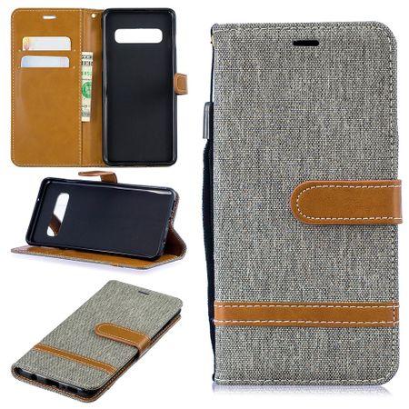 Samsung Galaxy S10 Handy-Hülle Schutz-Tasche Case Cover Kartenfach Etui Wallet Grau