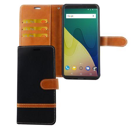 Wiko View XL Handy-Hülle Schutz-Tasche Case Cover Kartenfach Etuis Schwarz