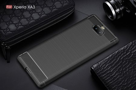 Sony Xperia 10 TPU Case Carbon Fiber Optik Brushed Schutz Hülle Schwarz – Bild 2
