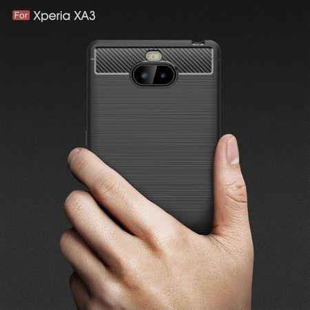 Sony Xperia 10 TPU Case Carbon Fiber Optik Brushed Schutz Hülle Schwarz – Bild 8