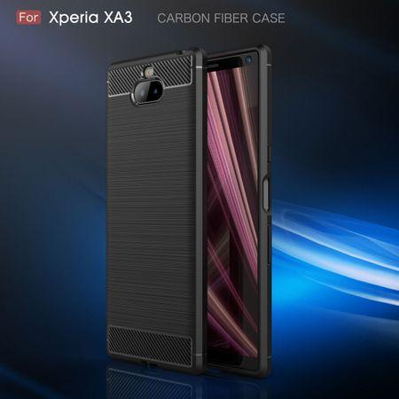 Sony Xperia 10 TPU Case Carbon Fiber Optik Brushed Schutz Hülle Blau – Bild 3