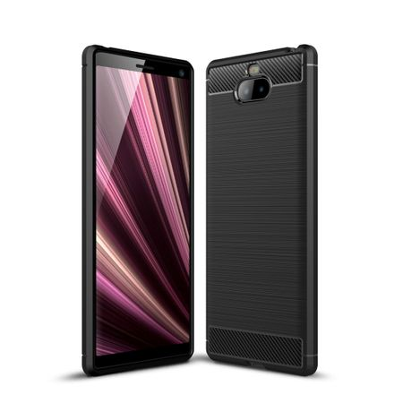 Sony Xperia 10 Plus TPU Case Carbon Fiber Optik Brushed Schutz Hülle Schwarz