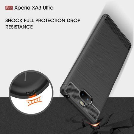 Sony Xperia 10 Plus TPU Case Carbon Fiber Optik Brushed Schutz Hülle Schwarz – Bild 6