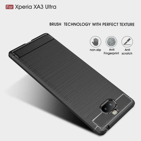 Sony Xperia 10 Plus TPU Case Carbon Fiber Optik Brushed Schutz Hülle Blau – Bild 4