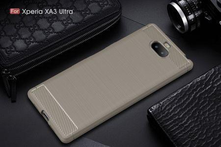 Sony Xperia 10 Plus TPU Case Carbon Fiber Optik Brushed Schutz Hülle Grau – Bild 2