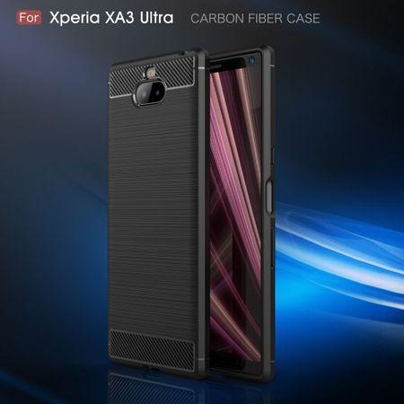 Sony Xperia 10 Plus TPU Case Carbon Fiber Optik Brushed Schutz Hülle Grau – Bild 3
