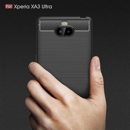 Sony Xperia 10 Plus TPU Case Carbon Fiber Optik Brushed Schutz Hülle Grau – Bild 8