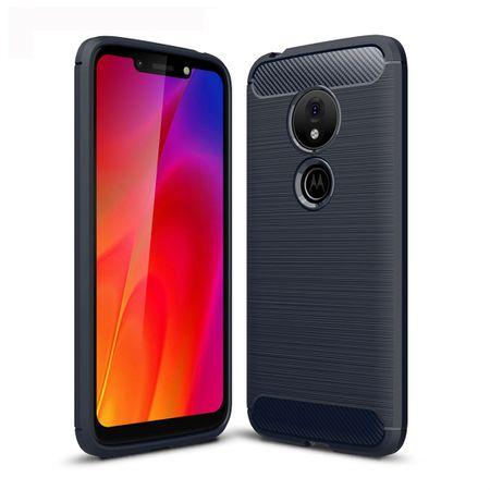 Motorola Moto G7 Play TPU Case Carbon Fiber Optik Brushed Schutz Hülle Blau