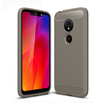 Motorola Moto G7 Play TPU Case Carbon Fiber Optik Brushed Schutz Hülle Grau