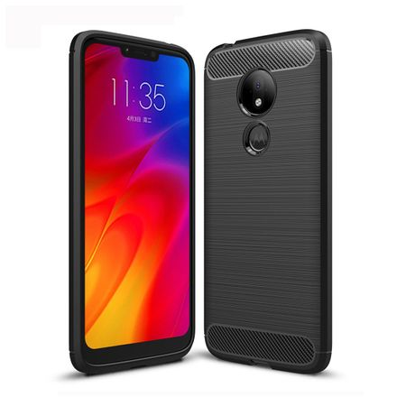 Motorola Moto G7 Power TPU Case Carbon Fiber Optik Brushed Schutz Hülle Schwarz