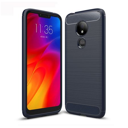 Motorola Moto G7 Power TPU Case Carbon Fiber Optik Brushed Schutz Hülle Blau