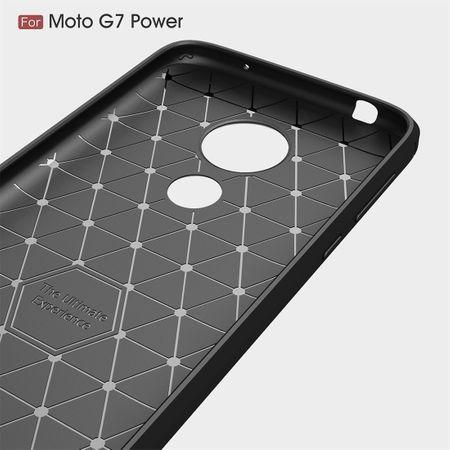 Motorola Moto G7 Power TPU Case Carbon Fiber Optik Brushed Schutz Hülle Blau – Bild 4