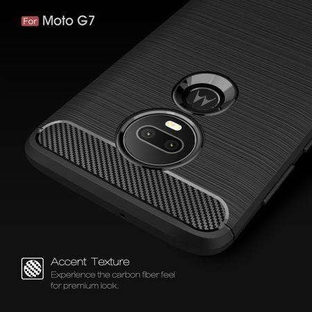 Motorola Moto G7 TPU Case Carbon Fiber Optik Brushed Schutz Hülle Schwarz – Bild 4