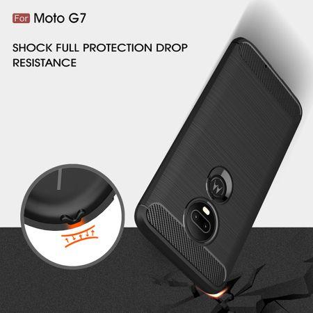 Motorola Moto G7 TPU Case Carbon Fiber Optik Brushed Schutz Hülle Blau – Bild 6