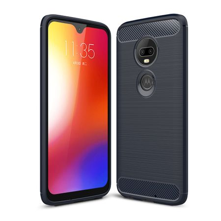 Motorola Moto G7 Plus TPU Case Carbon Fiber Optik Brushed Schutz Hülle Blau