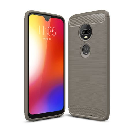 Motorola Moto G7 Plus TPU Case Carbon Fiber Optik Brushed Schutz Hülle Grau