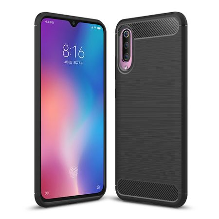 Xiaomi Mi 9 TPU Case Carbon Fiber Optik Brushed Schutz Hülle Schwarz