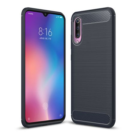 Xiaomi Mi 9 TPU Case Carbon Fiber Optik Brushed Schutz Hülle Blau