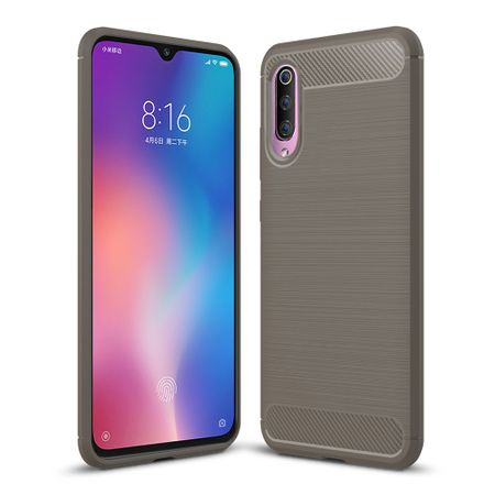 Xiaomi Mi 9 TPU Case Carbon Fiber Optik Brushed Schutz Hülle Grau