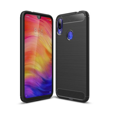 Xiaomi Redmi Note 7 / 7 Pro TPU Case Carbon Fiber Optik Brushed Schutz Hülle Schwarz