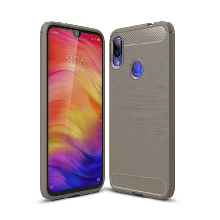 Xiaomi Redmi Note 7 / 7 Pro TPU Case Carbon Fiber Optik Brushed Schutz Hülle Grau