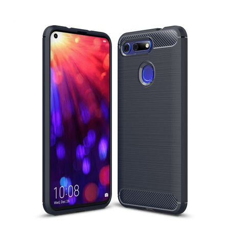Huawei Honor View 20 TPU Case Carbon Fiber Optik Brushed Schutz Hülle Blau