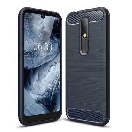 Nokia 4.2 TPU Case Carbon Fiber Optik Brushed Schutz Hülle Blau