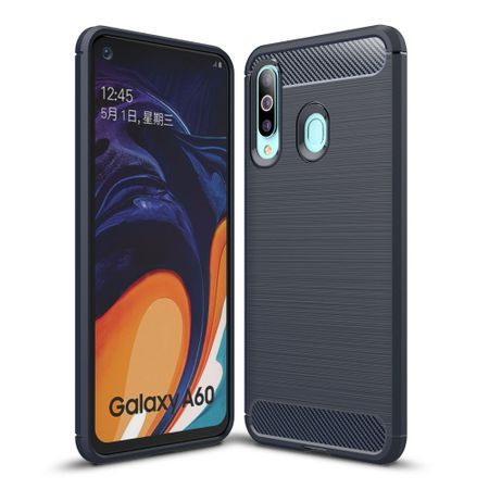 Samsung Galaxy A60 TPU Case Carbon Fiber Optik Brushed Schutz Hülle Blau