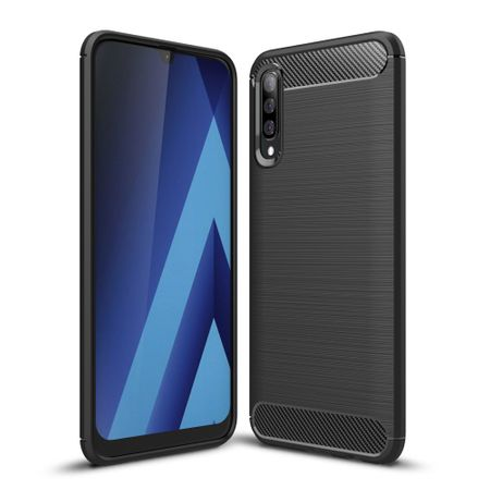 Samsung Galaxy A70 TPU Case Carbon Fiber Optik Brushed Schutz Hülle Schwarz
