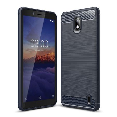 Nokia 1 Plus TPU Case Carbon Fiber Optik Brushed Schutz Hülle Blau