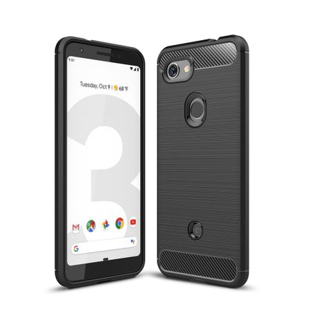 Google Pixel 3a TPU Case Carbon Fiber Optik Brushed Schutz Hülle Schwarz