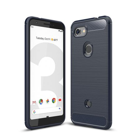 Google Pixel 3a TPU Case Carbon Fiber Optik Brushed Schutz Hülle Blau