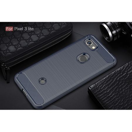 Google Pixel 3a TPU Case Carbon Fiber Optik Brushed Schutz Hülle Blau – Bild 2