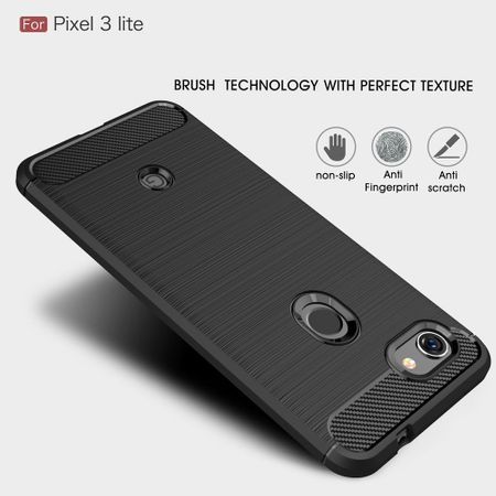 Google Pixel 3a TPU Case Carbon Fiber Optik Brushed Schutz Hülle Grau – Bild 3