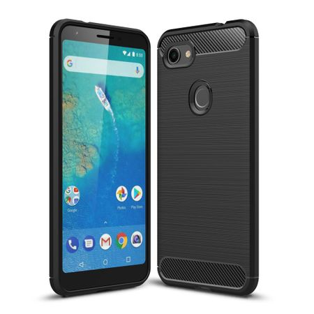 Google Pixel 3a XL TPU Case Carbon Fiber Optik Brushed Schutz Hülle Schwarz