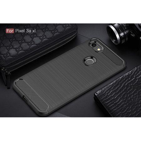 Google Pixel 3a XL TPU Case Carbon Fiber Optik Brushed Schutz Hülle Schwarz – Bild 2