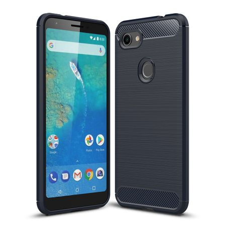 Google Pixel 3a XL TPU Case Carbon Fiber Optik Brushed Schutz Hülle Blau