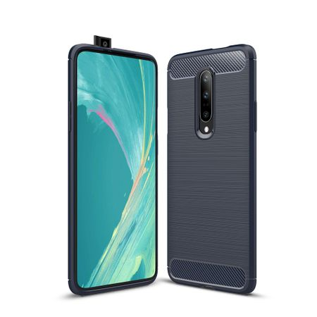 OnePlus 7 Pro TPU Case Carbon Fiber Optik Brushed Schutz Hülle Blau