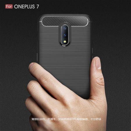 OnePlus 7 TPU Case Carbon Fiber Optik Brushed Schutz Hülle Blau – Bild 8