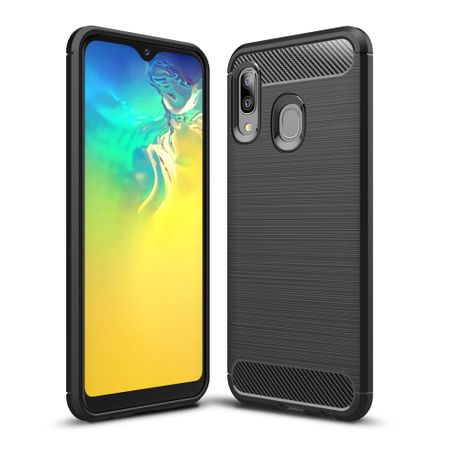 Samsung Galaxy A20e TPU Case Carbon Fiber Optik Brushed Schutz Hülle Schwarz