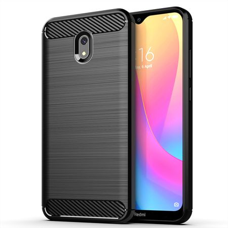 Xiaomi Redmi 8A TPU Case Carbon Fiber Optik Brushed Schutz Hülle Schwarz