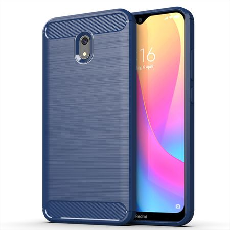 Xiaomi Redmi 8A TPU Case Carbon Fiber Optik Brushed Schutz Hülle Blau