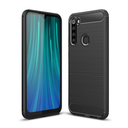 Xiaomi Redmi Note 8 TPU Case Carbon Fiber Optik Brushed Schutz Hülle Schwarz