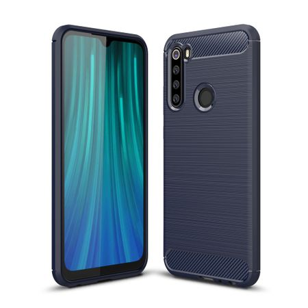 Xiaomi Redmi Note 8 TPU Case Carbon Fiber Optik Brushed Schutz Hülle Blau